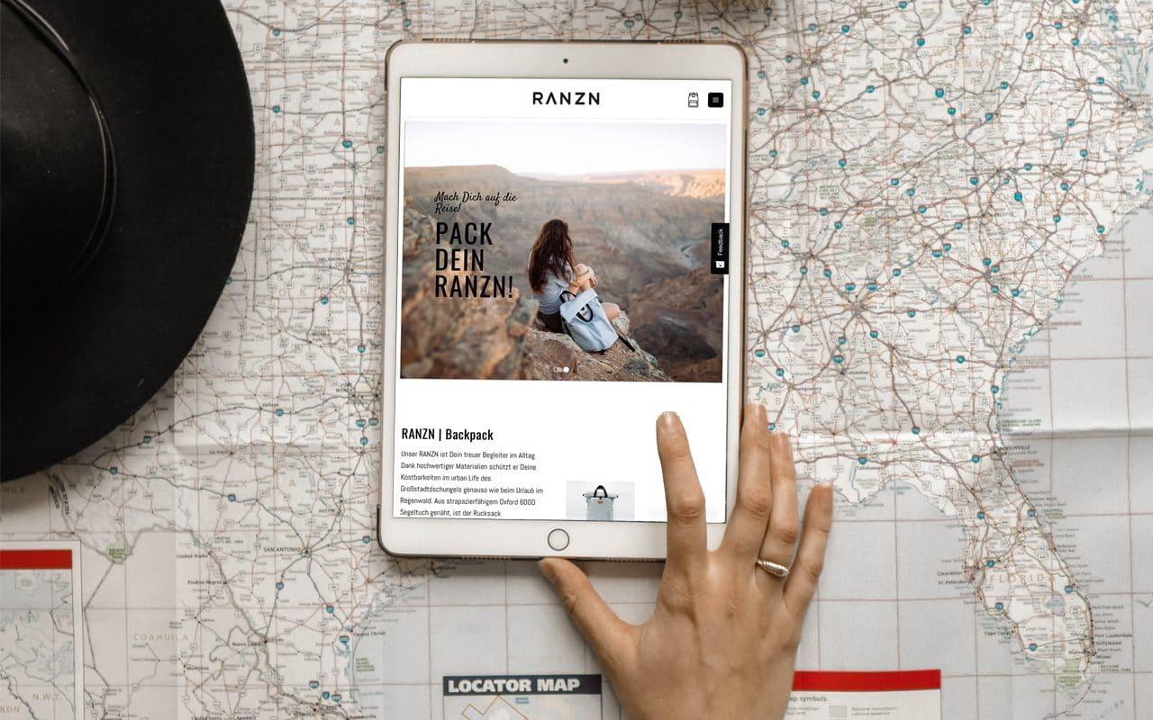 RANZN Website auf Tablet